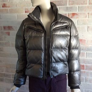 Ralph Lauren Silver Metallic LAMBSKIN Down Jacket
